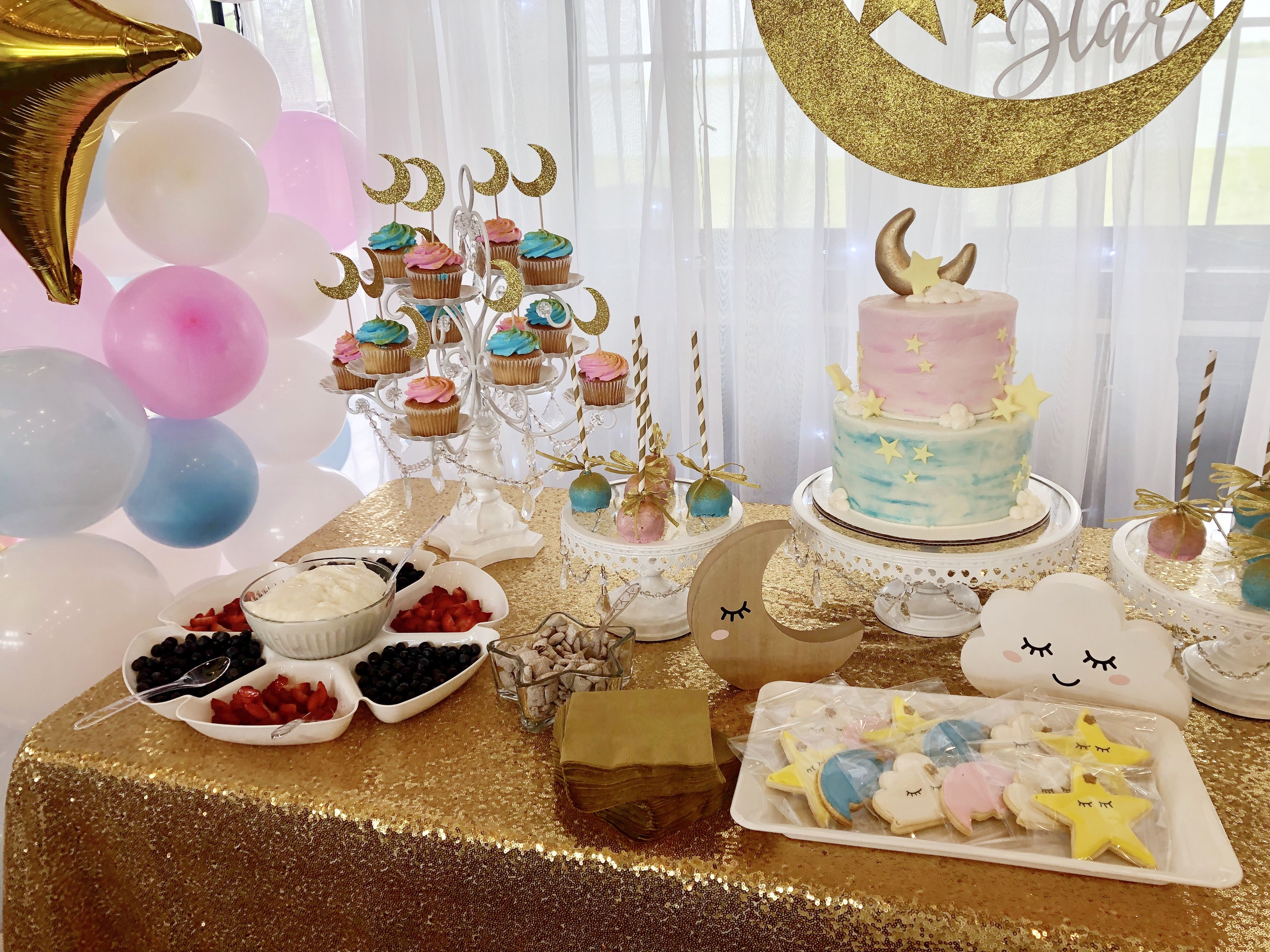 Twinkle Little Star Gender Reveal Theme And Ideas For Desserts And Sweet Treats Gender Reveal Themes Baby Shower Gender Reveal Baby Shower