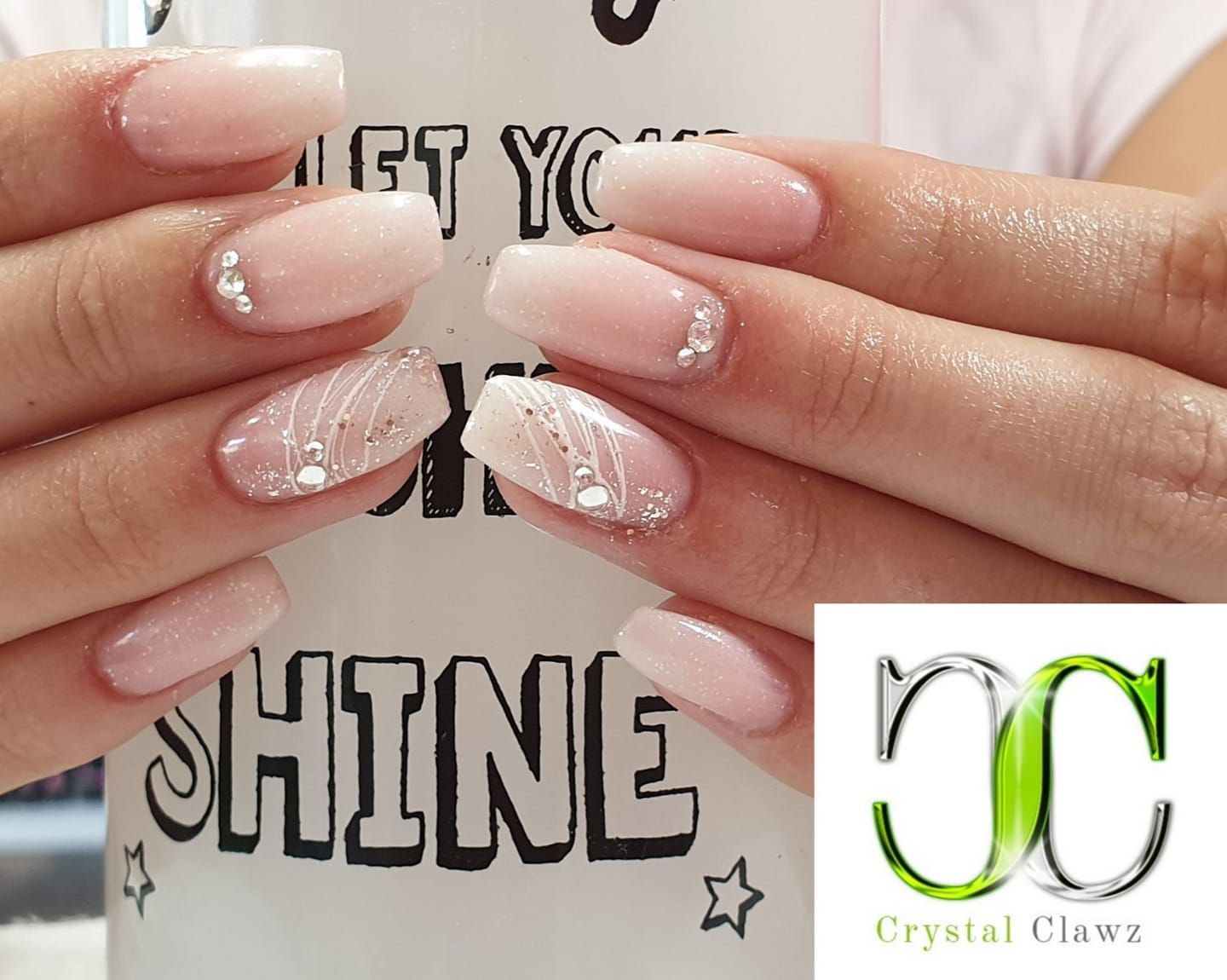 Baby Boomers With Added Glitter Diamond Gel And Spider Gel Art And Genuine Ab Crystals Simple Yet Stunning Crys Kristall Nagel Stone Nails Nageldesign Lila