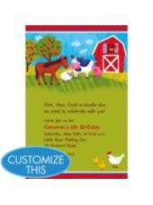 Barnyard Custom Invitation Boys Birthday Invitations