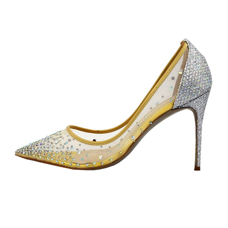 Discount Plus Size 34 43 Mesh Air Crystal High Heels Women Shoes Beautiful  Sweet Glitter Woman 6c9704a3775d