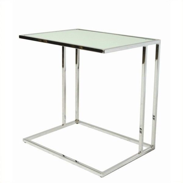 Pastel Furniture Norway Glass Top End Table ($181) ❤ liked on Polyvore featuring home, furniture, tables, accent tables, chrome side table, pastel furniture, chrome end table, rectangular glass top table and rectangle side table