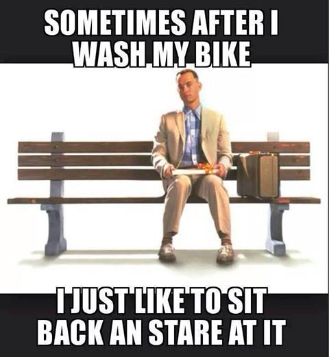 Sometimes After I Wash My Bike I Just Like To Sit Back And Stare At Motorcycle Humor Motorcycle Memes Biker Quotes