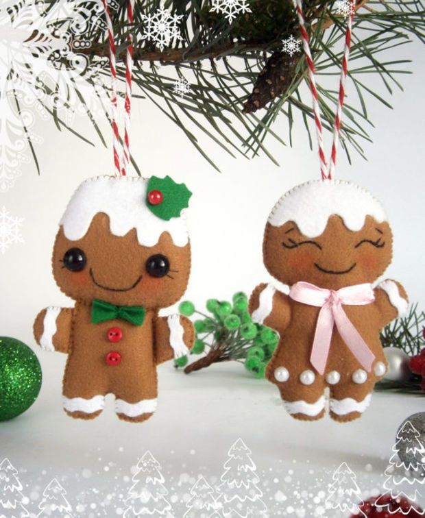 Felt Christmas ornaments SET of 2 Gingerbread man felt New Year ...