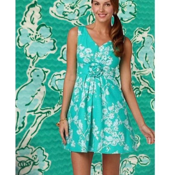 Lily Pulitzer Birds And The Bees Lagoon Green Dres Style Name Parker Dress Color
