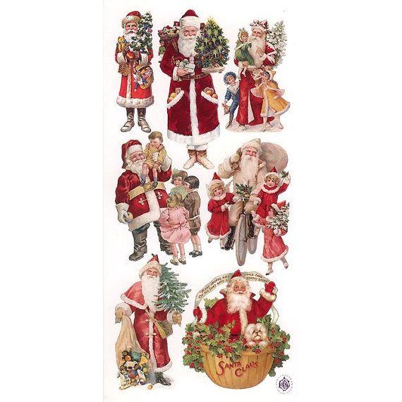 3 Sheets Self Adhesive Christmas Santa Claus Stickers 1 Sheet Colorful Scrapbooking Stkp40 Christmas Stickers Vintage Christmas Images Vintage Christmas