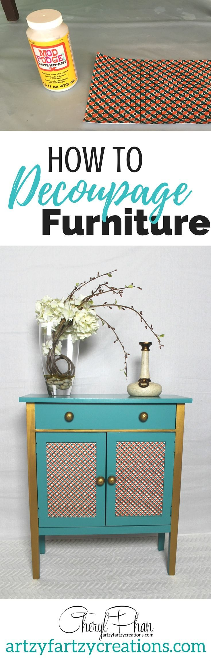 how to decoupage furniture. this easy tutorial shows each step to ... - Decoupage En Muebles Tutorial
