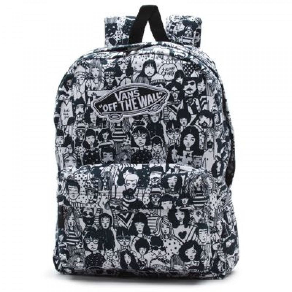 3beb267426 Details about Vans Realm White Black Faces Backpack in 2019