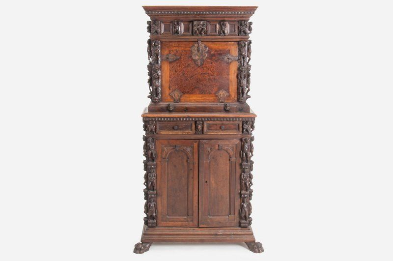 NORTHERN ITALIAN BAROQUE WALNUT BAMBOCCI on Cupboard, Baroque