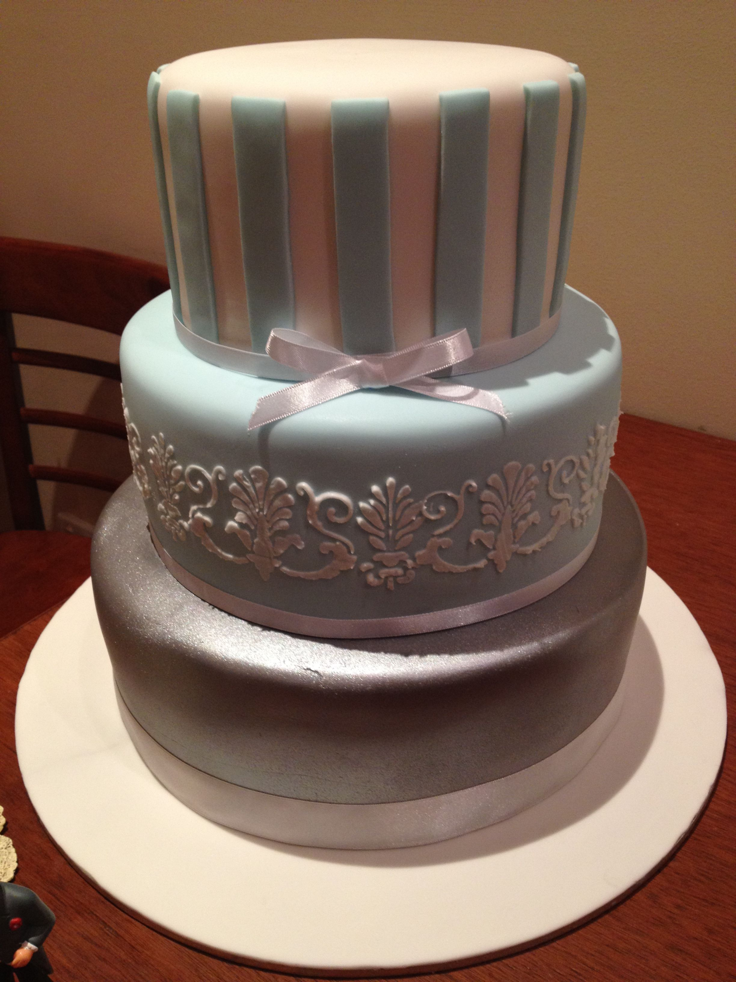 Powder blue and silver wedding cake our wedding cakes pinterest