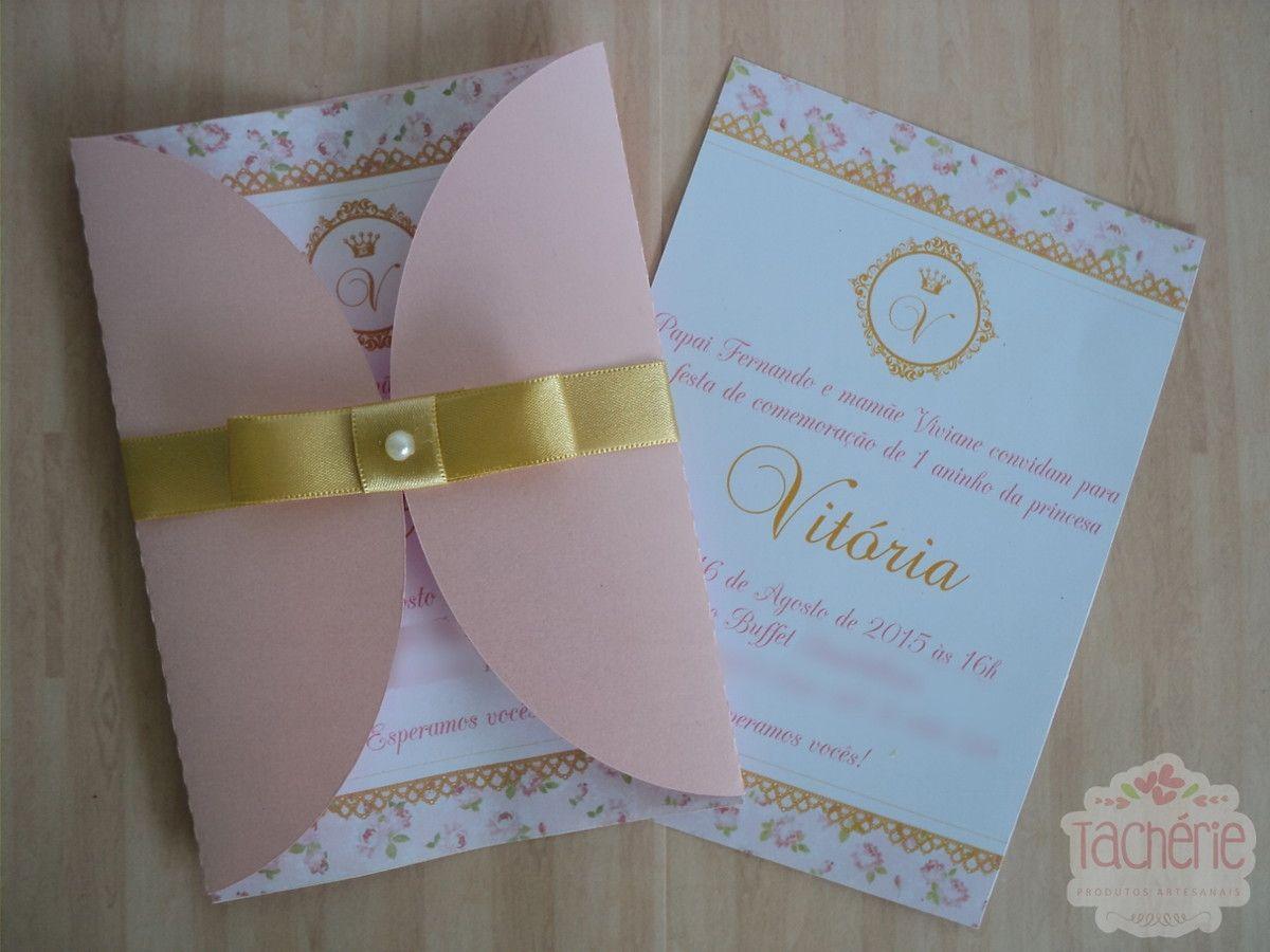 Super Convite princesa rosa e dourado | Aniversário infantil, Chá de  OM31