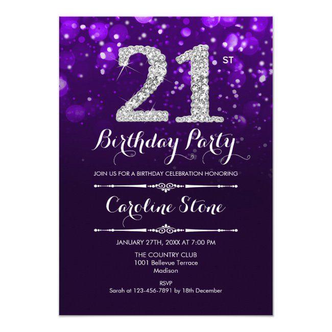 21st Birthday Purple Silver Invitation Zazzle Com In 2021 21st Birthday Invitations Silver Invitation 21st Birthday