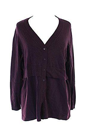 Alfani Wine Mixed-Media Cardigan XL at Amazon Women's Clothing store: