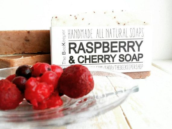 Raspberry and Cherry Soap. Like a walk on a shiny day during summer! You will fall in love with this one! Full of antioxidants and skin loving oils and butters.