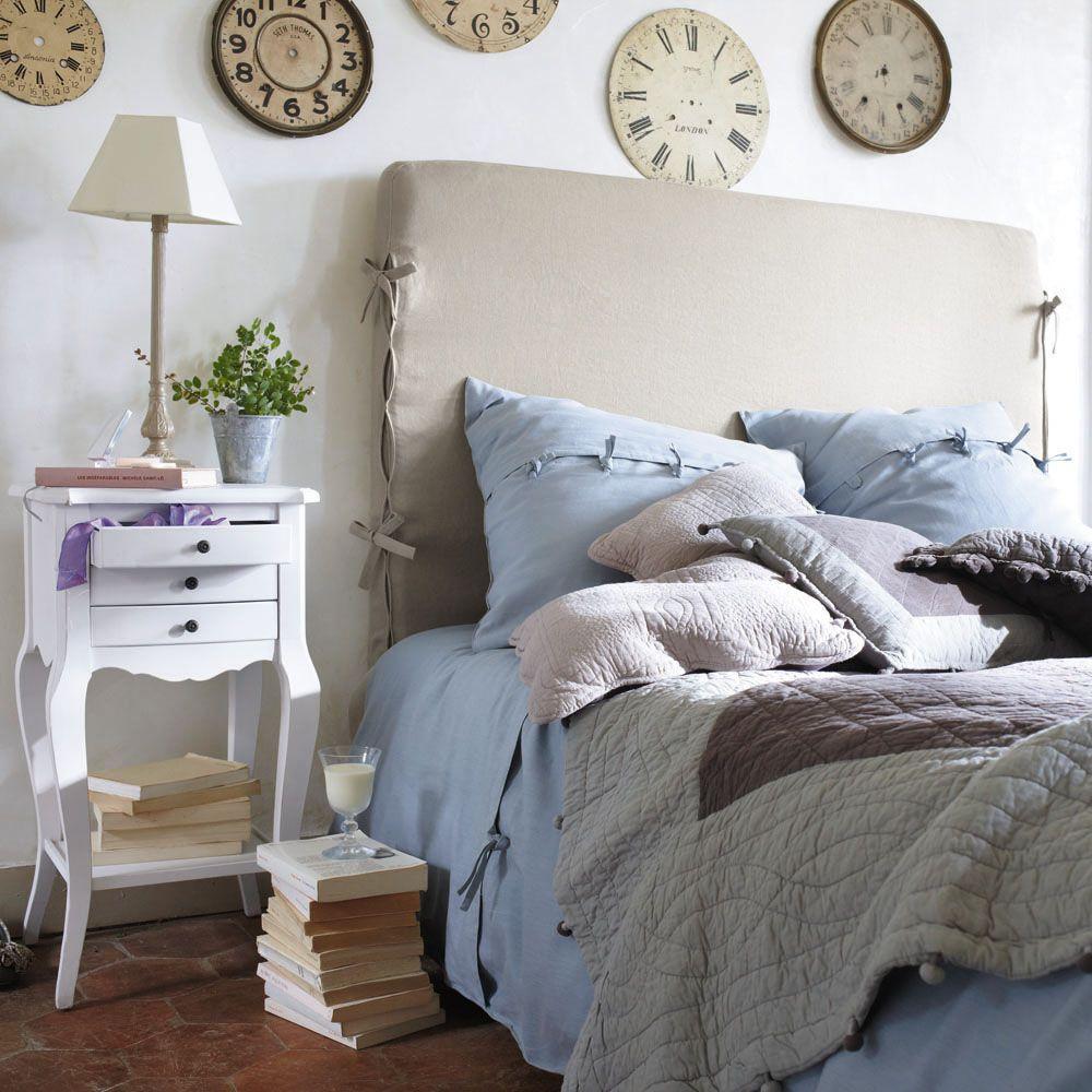 Mesita de noche con cajones de madera blanca 37 cm de largo maison du monde pinterest - Mesillas de noche maison du monde ...