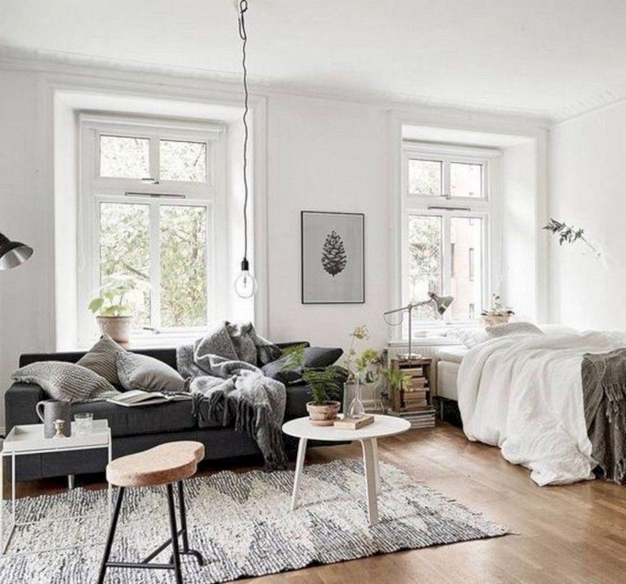 48 Cool Diy Beautiful Apartments Design Ideas Roundecor One Room Flat Studio Apartment Decorating Apartment Room
