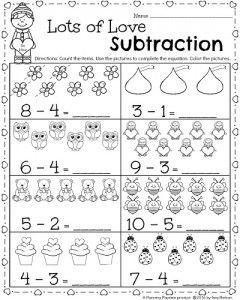 Kindergarten Math And Literacy Worksheets For February Planning Playtime Kindergarten Subtraction Worksheets Kindergarten Math Worksheets Kindergarten Addition Worksheets