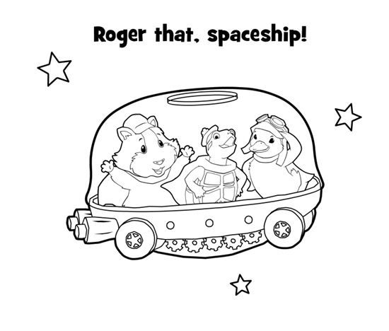 Color in this picture of the Wonder Pets in a spaceship ...