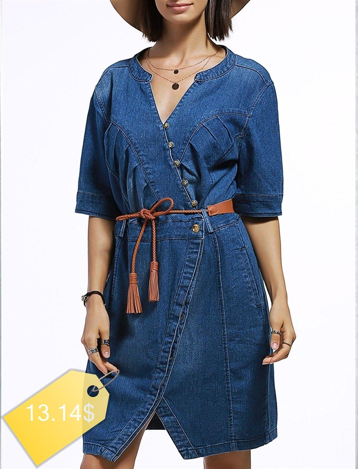 Chic Buttoned Pocket Design Slit Denim Dress For Women