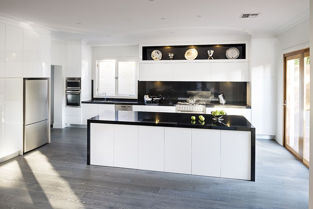 Best White High Gloss Kitchen With Black Marble Benchtops And 400 x 300
