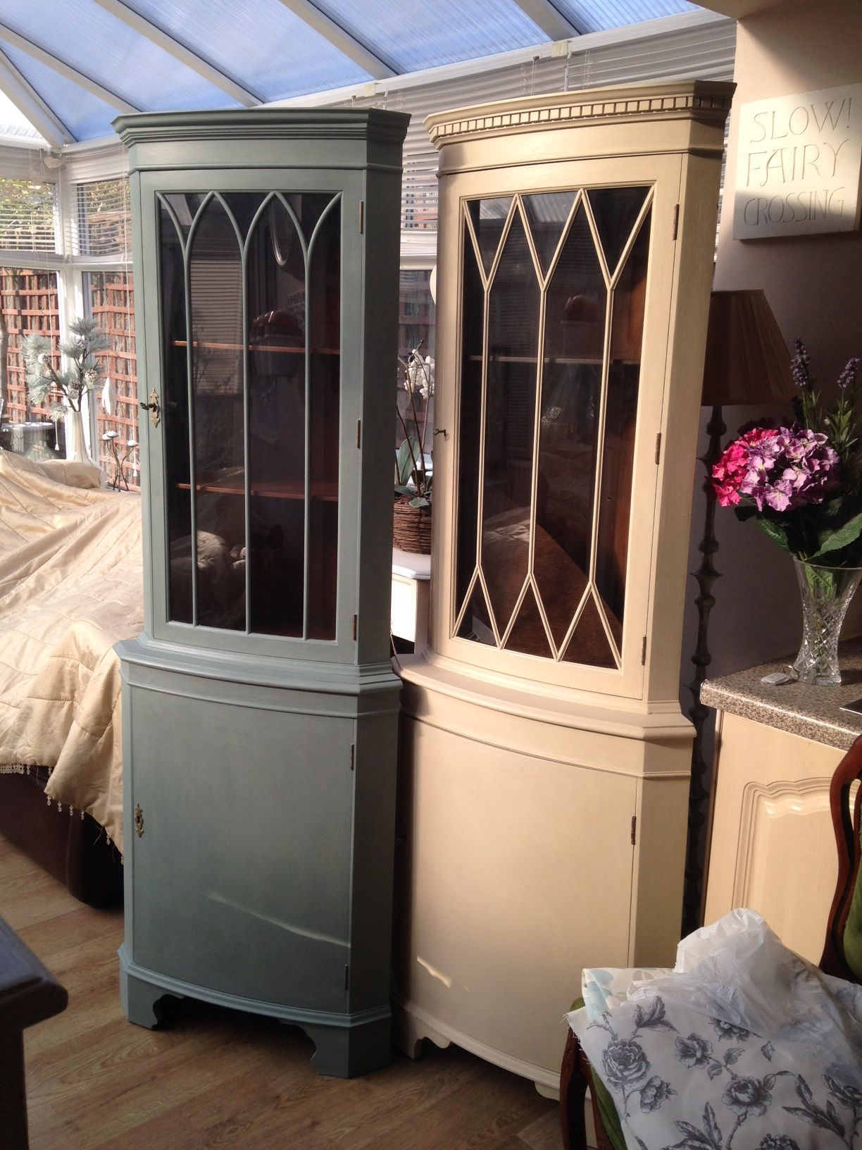 Old Dark Wood Corner Units Painted In Chalk Paint Then Waxed