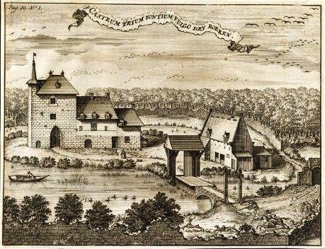 1532.Château de Trois-Fontaines (Auderghem)en 1532.Gravure de Jacques Harrewyn(1660-1727) d'après un carton de L. Vorstermans jr.de 1659.Sous le règne de Philippe II la prison fut entièrement désolée,brûlée et ruinée.Un sergent de la forêt Philippe De Meestere obtint à cette époque l'autorisation d'y élever une hutte jusqu'à nouvel ordre et à la condition de veiller sur les matériaux restants afin que l'on pût les utiliser plus tard (13 décembre 1585).