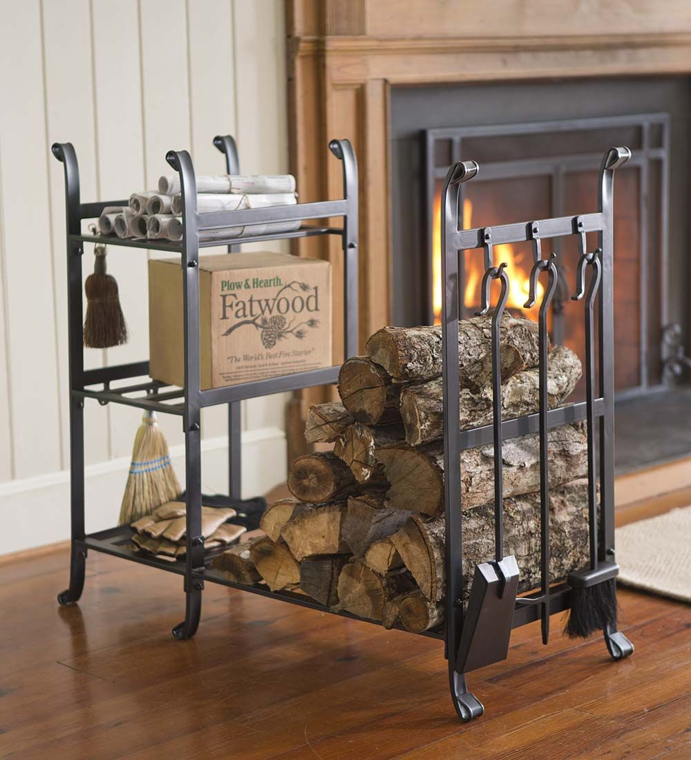 a with glass tower rack top en frosted basic firewood shelf