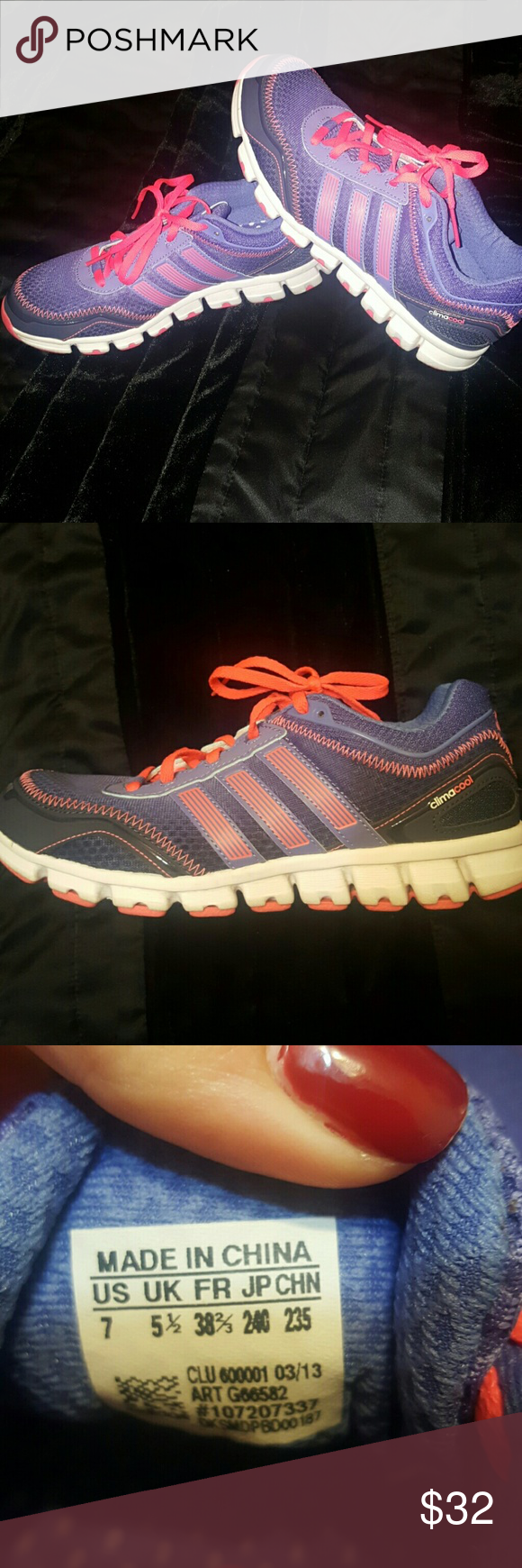 Women's Adidas Climacool Adidas. Purple and hot pink. Worn 3 times! Like brand new! Adidas Shoes Athletic Shoes