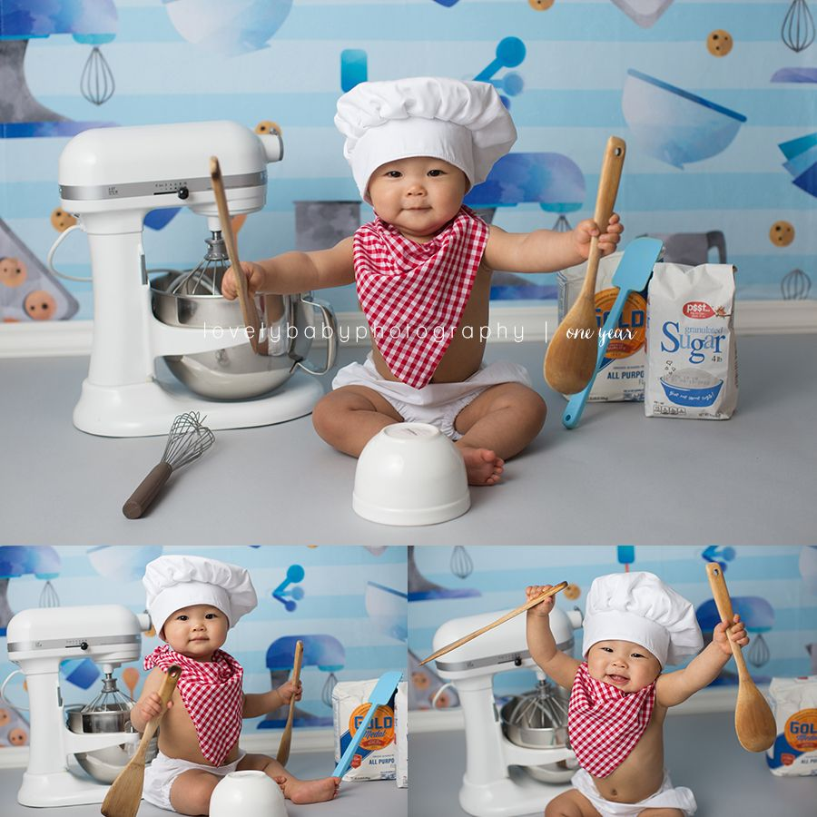 Baking chef cake smash photography session backdrop by
