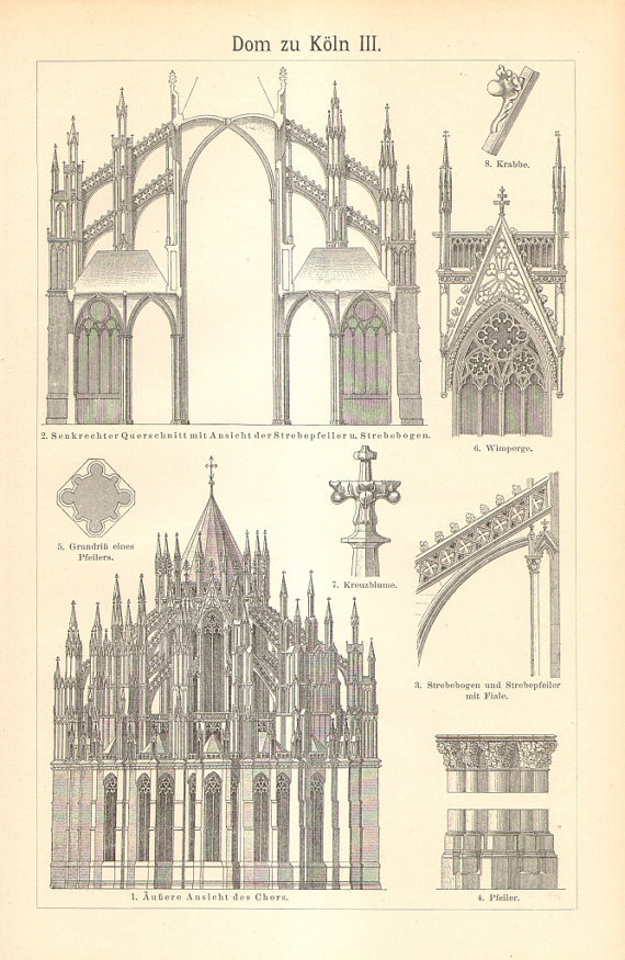 1903 Cologne Cathedral Hohe Domkirche St Peter Und Maria Etsy Architectural Prints Cathedral Architecture Cathedral