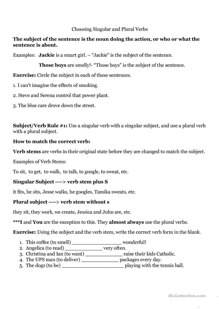 hight resolution of Subject Verb Agreement worksheet - Free ESL printable worksheets made by  teachers   Subject and verb