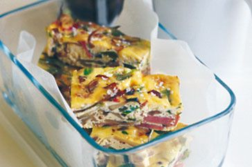 Oven-baked vegetable and bacon frittata #baconfrittata