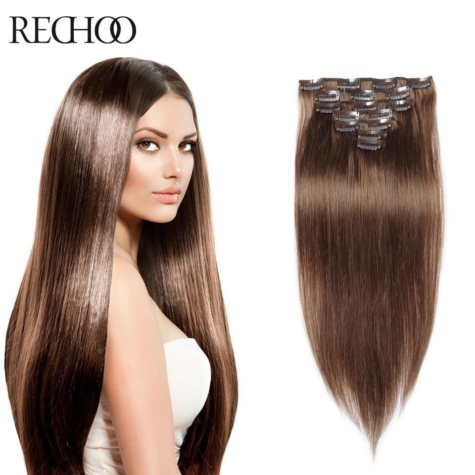 Clip dans les cheveux humains extensions double drawn peruvien À la