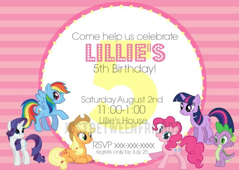 Rare image regarding free printable my little pony birthday invitations