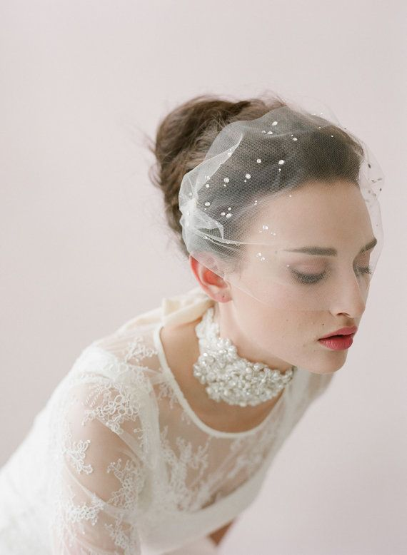Birdcage Veil White Dots Wedding Bridal Bandeau with double gold or silver plated combs french netting blusher veil /'Minnie/'