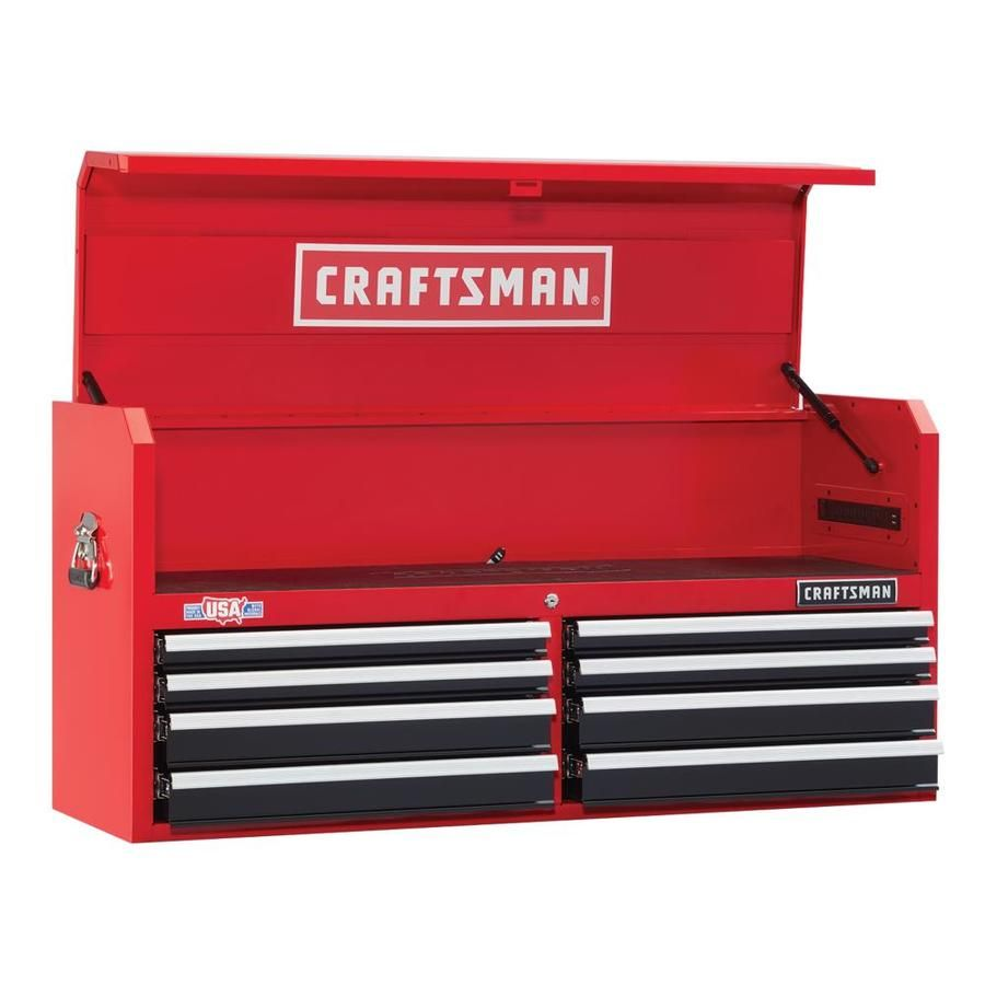 c063495bf34 CRAFTSMAN Heavy-Duty 52-in W x 24.5-in H 8-Drawer Ball-bearing Steel Tool  Chest (Red)