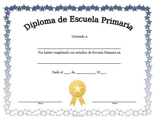 Diploma de Escuela Primaria para Imprimir Gratis moldes