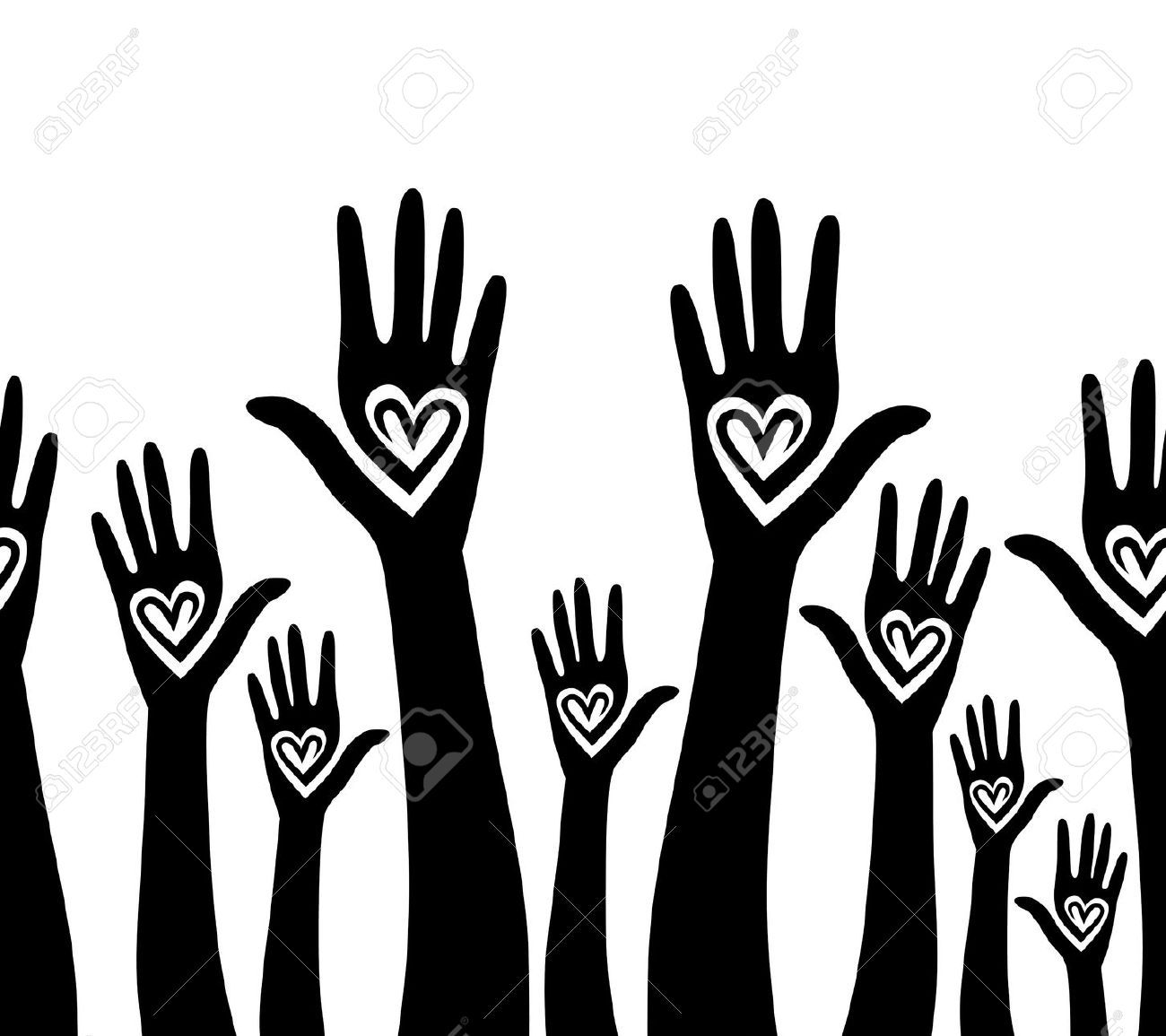 hight resolution of colorful hands with hearts over white background royalty free hand clipart seamless