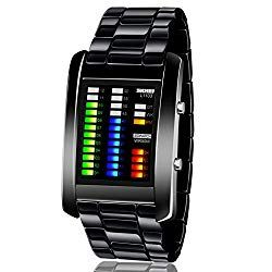 f26df633e8f Men s Digital Watch Binary Time LED Display Waterproof Alloy Band Stopwatch  Creative Sport Army Wristwatches – BABIES ITEMS
