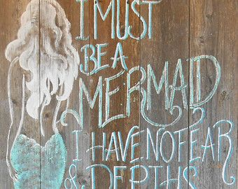 Barnwood Mermaid Sign, Hand Painted, Original, Glittered, Beach #mermaidsign