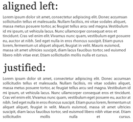 Flush left alignment google search typographic inspiration justified text is spaced so that it has a straight edge at both sides unjustified text has a straight edge on only one side or no sides centred text ccuart Choice Image