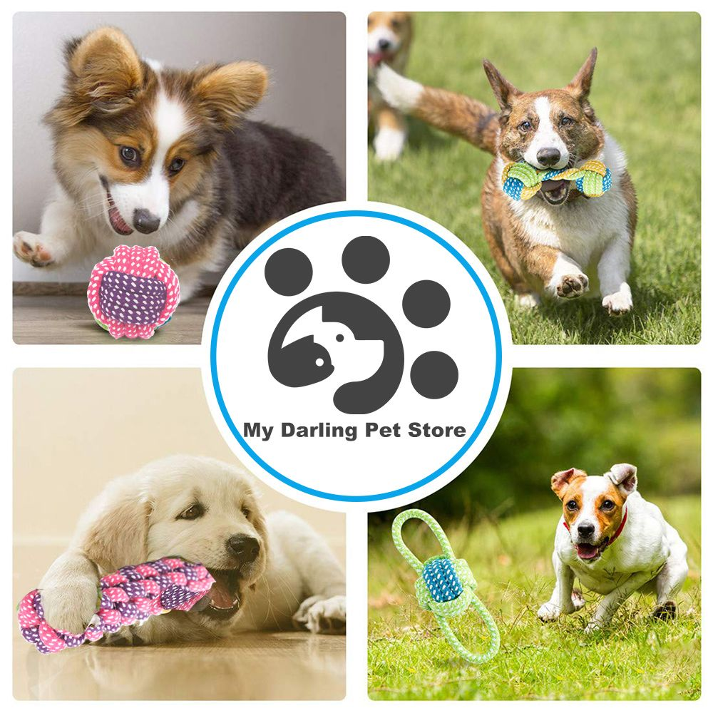5 Pack Dog Rope Toy Chew Cotton For Pet Dogs Outdoor Teeth Clean