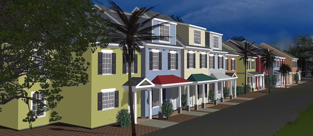 Front View Of Town House Renderings Using My Software SoftPlan   Custom House  Designs By Lang Smith