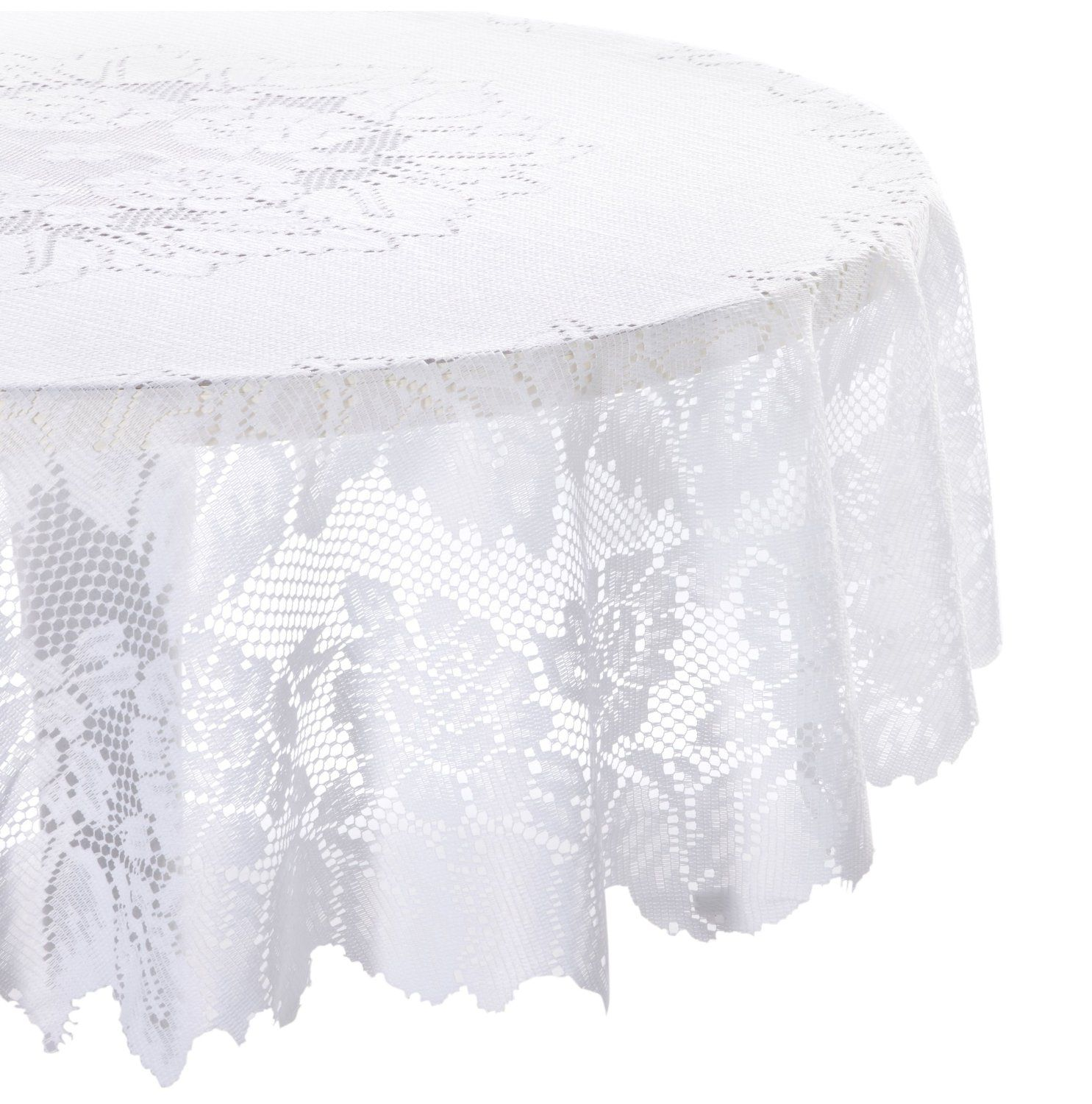 Amazon.com   DII 100% Polyester, Machine Washable Tablecloth Floral Lace  54x72,