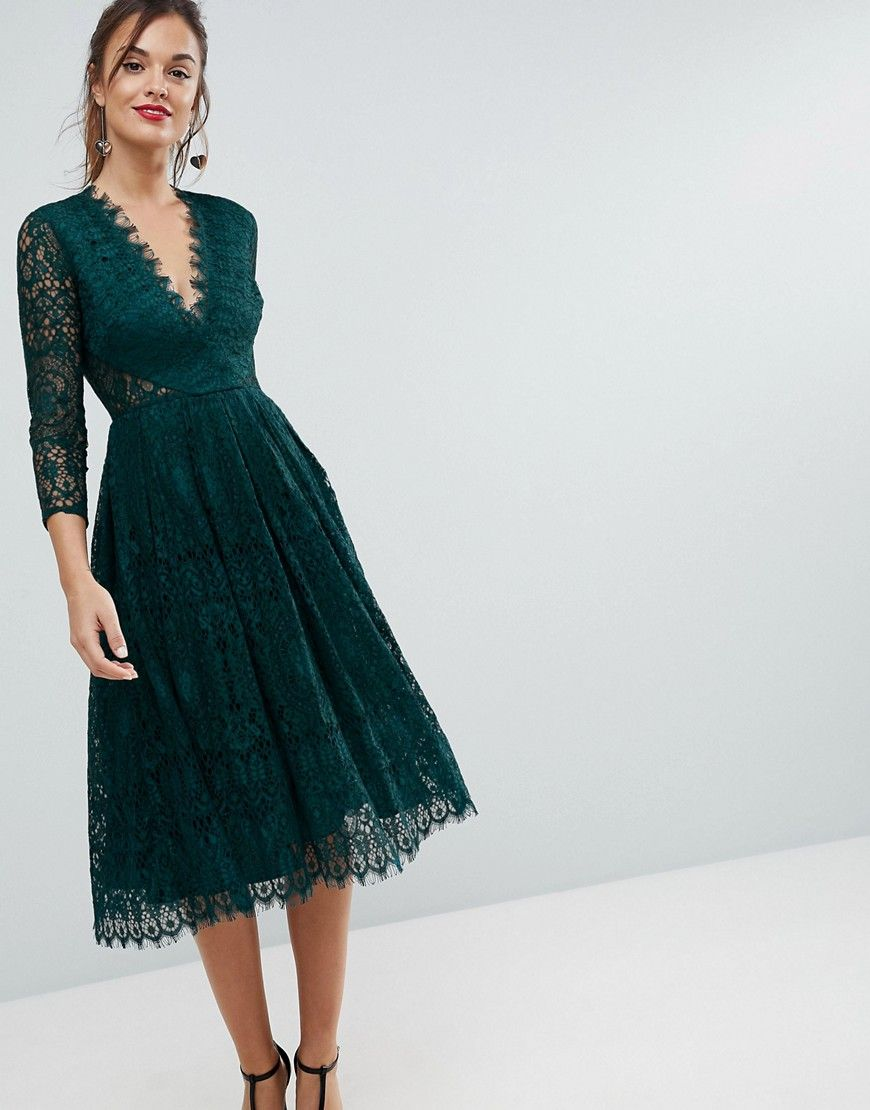 asos long sleeve lace midi prom dress - green | abendkleid