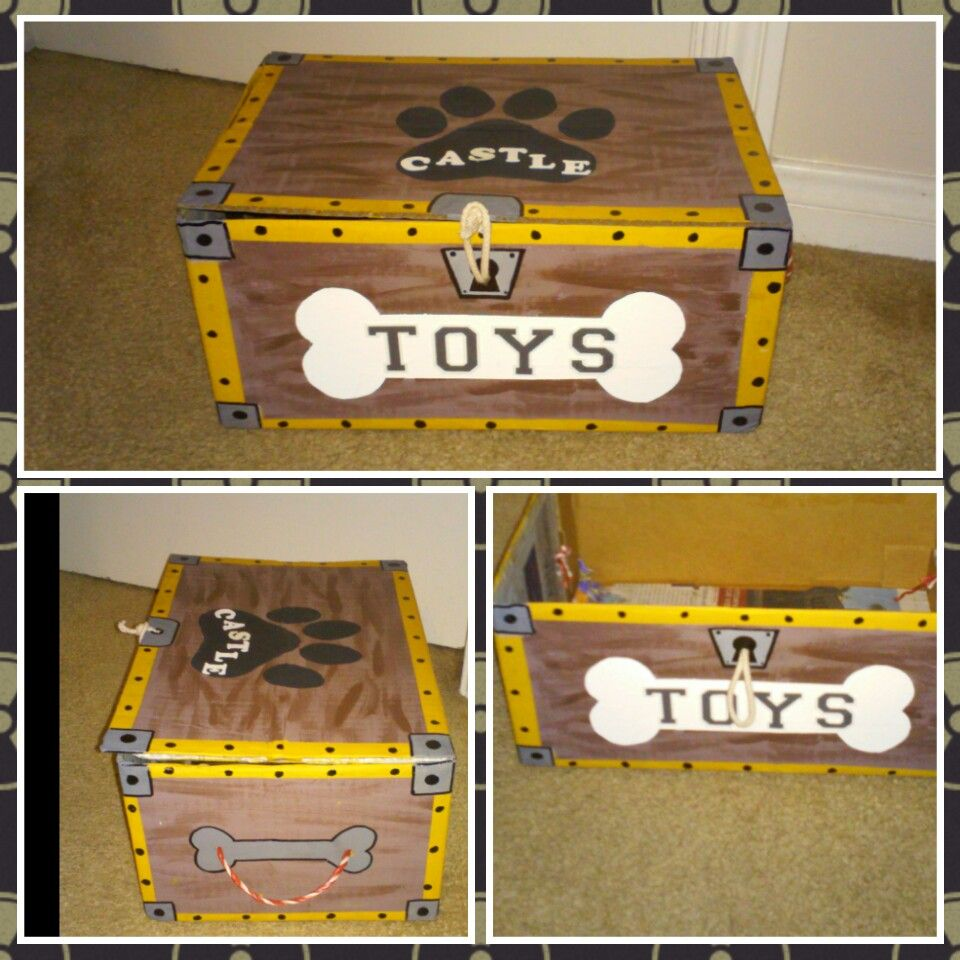 Diy Dog Toy Box Upcycled Cardboard Box Into Treasure Chest Med