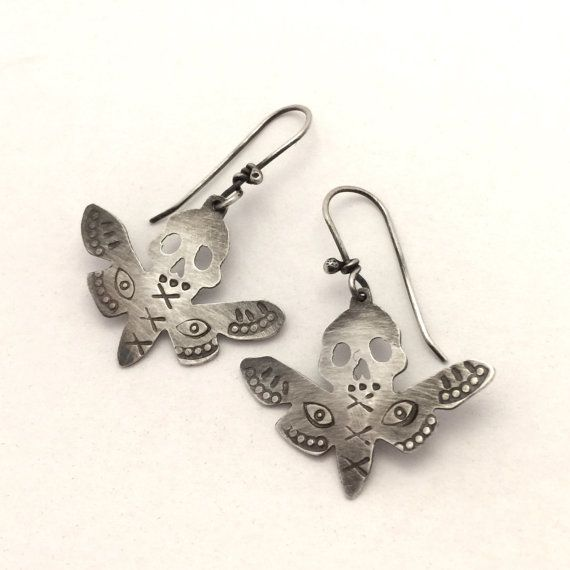Sterling moth earrings by amuckdesign on Etsy