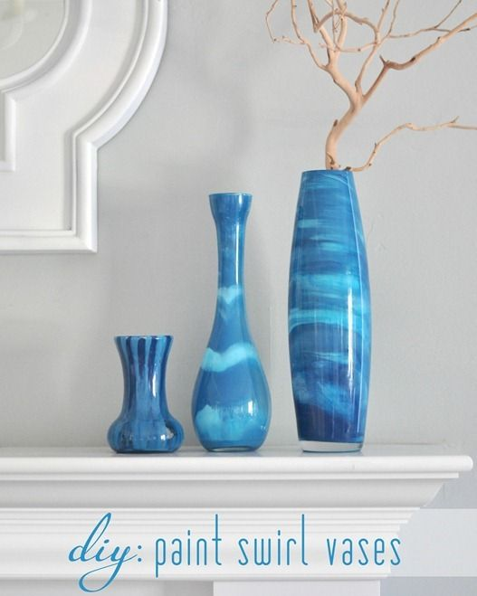A Swirled Paint Technique Makes Plain Glass Vases Into Gorgeous