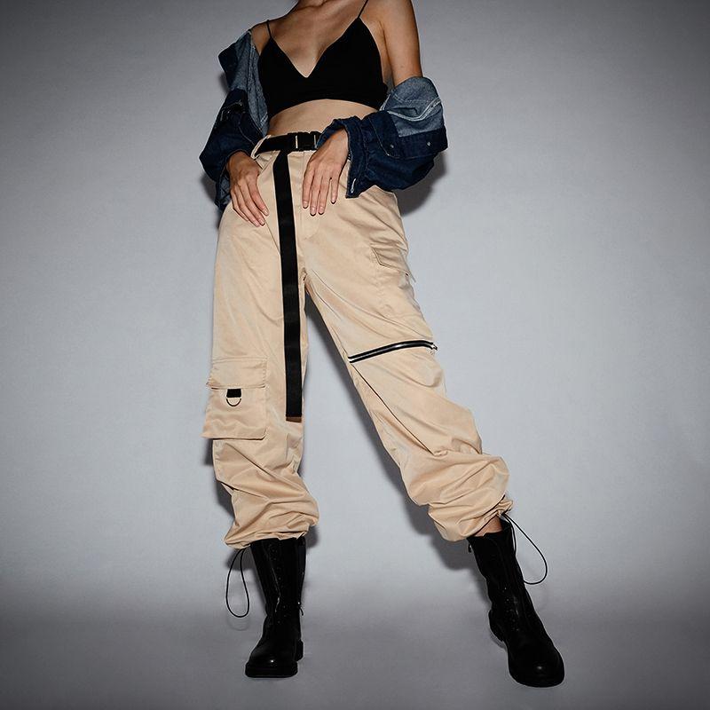 Pantalones De Talla Grande Para Mujer Pantalones Cargo Caqui Estilo Urbano Pantalones De Chandal Para Mujer Pantalones De Chandal Informales Sueltos De Cintu Pantalones De Chandal Pantalones De Mujer Ropa Juvenil