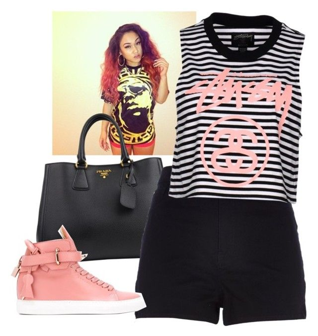 """""""With riah - Versace"""" by dreamrodriguez ❤ liked on Polyvore featuring beauty, Prada, River Island, BUSCEMI and Stussy"""