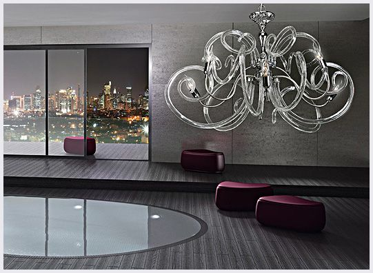 Modern Murano glass chandelier large curved glass lighting made – Modern Murano Glass Chandelier